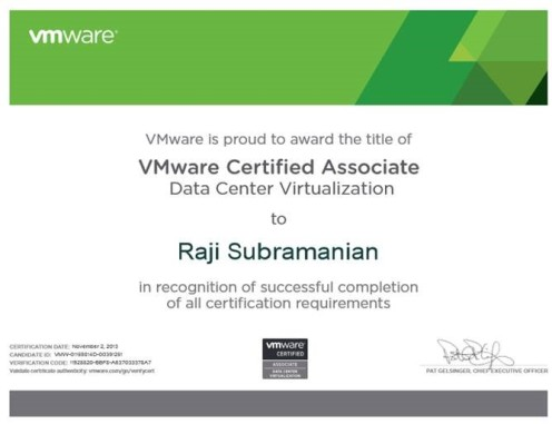 VmWare Certified Associate - Data Center Virtualization